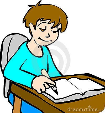 Kids Doing Homework Collection Cartoon Clipart - Vector Toons